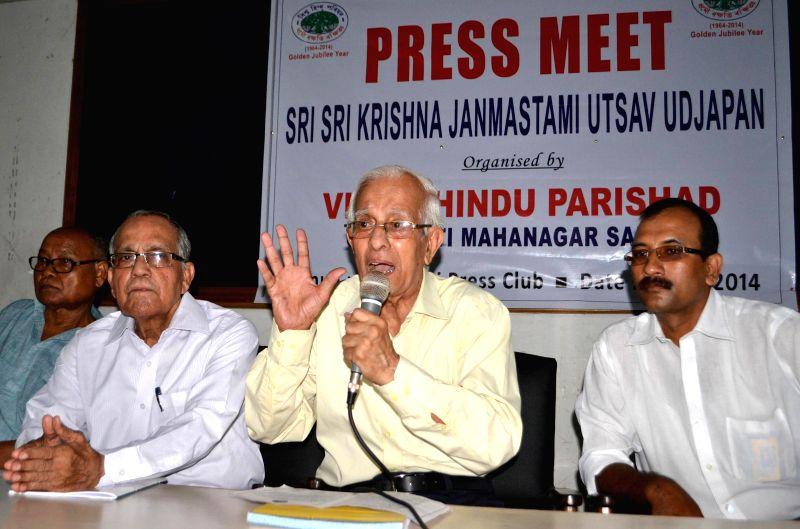 President of Sri Sri Krishna Janmastami Utsav Udjapan Samiti Dhirendra Nath Chakraborty addressing a press conference regarding Janmastami celebration which will be organised by Viswa Hindu Parishad .