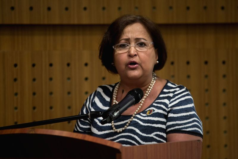 President of Venezuela's National Electoral Council (CNE) Tibiay Lucena speaks at a press conference after her meeting with representatives of the Union of South ...