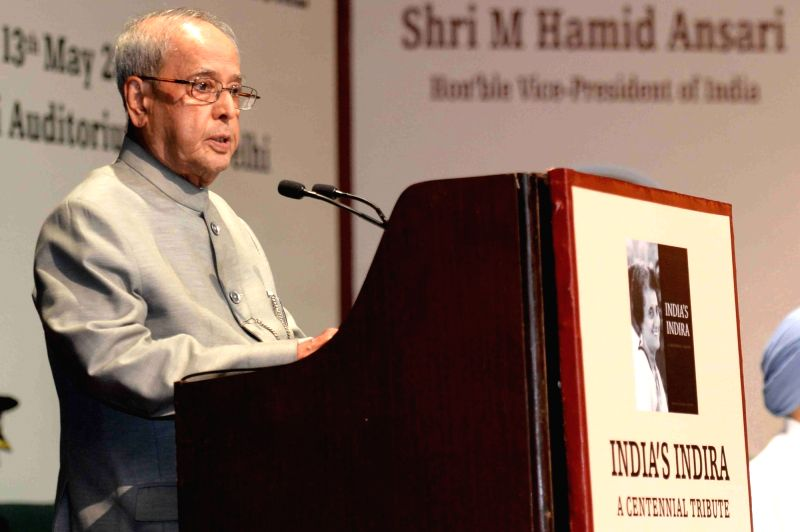 """President Pranab Mukherjee addresses after receiving the first copy of the book """"India's Indira : A Centennial Tribute"""" during a programme in New Delhi on May 13, 2017. - Pranab Mukherjee"""