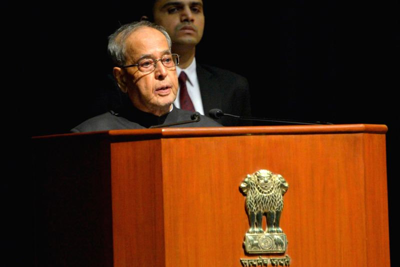 "President Pranab Mukherjee addresses after receiving the first copy of the book ""The Future of Indian Universities: Comparative and International Perspectives"" at Rashtrapati ... - Pranab Mukherjee"