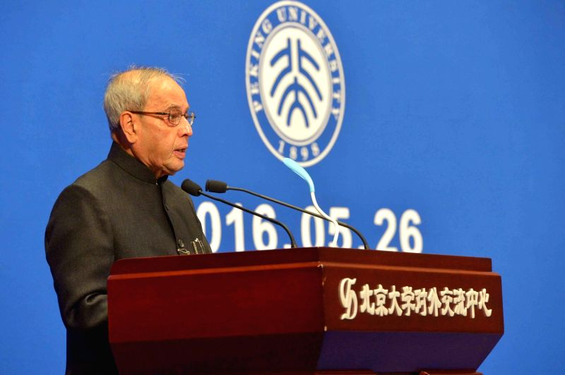 President Pranab Mukherjee addresses at Peking University in Beijing, on May 26, 2016. - Pranab Mukherjee