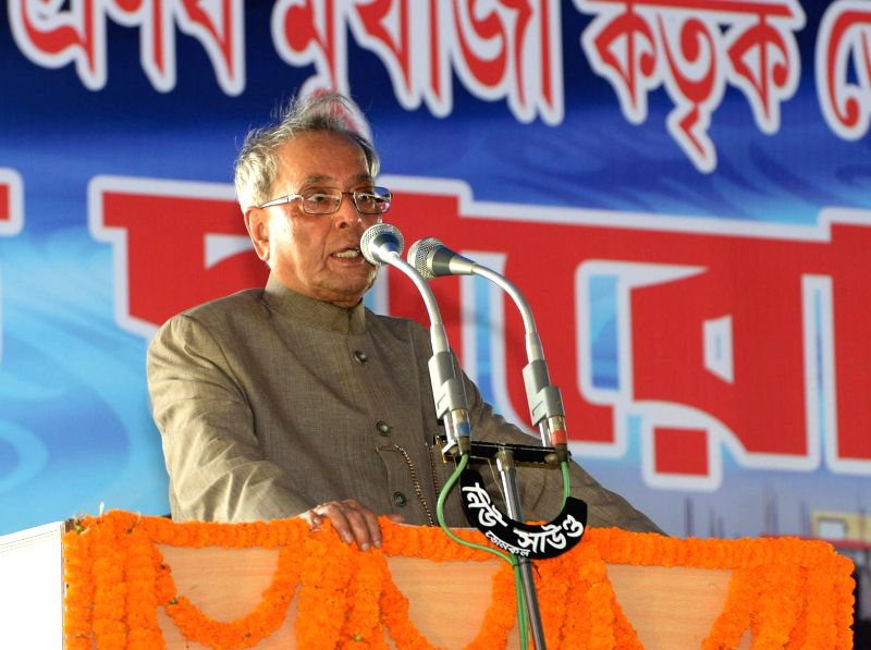 President Pranab Mukherjee addresses at the inauguration of Domkal Girls College's new building at Domkal, in West Bengal on August 23, 2014. - Pranab Mukherjee