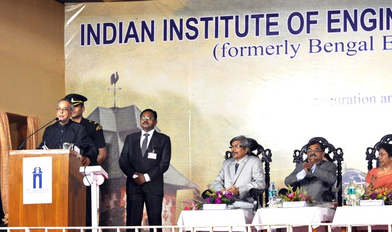 President Pranab Mukherjee addresses at the inauguration of Indian Institute of Engineering Science and Technology (IIEST), at Shibpur, Howrah, in West Bengal on August 24, 2014.Also seen Director, .. - Pranab Mukherjee and Ajoy Kumar Ray