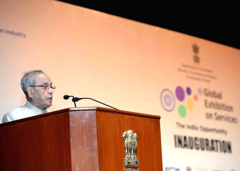 President Pranab Mukherjee addresses at the inauguration of the 3rd Edition of the Global Exhibition on services (GES-2017), at Rashtrapati Bhavan, in New Delhi on April 17, 2017. - Pranab Mukherjee