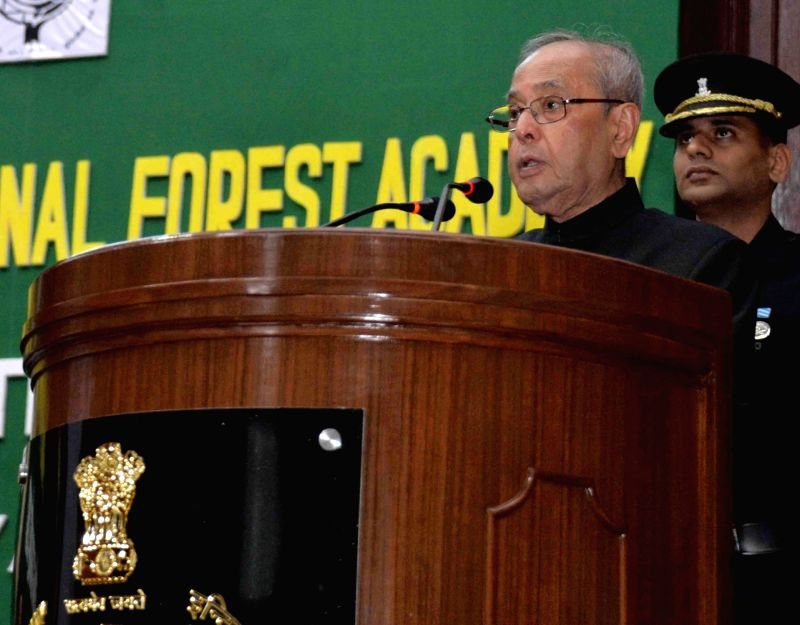 President Pranab Mukherjee addresses at the Annual Convocation of the Indira Gandhi National Forest Academy (IGNFA) in Dehradun on May 5, 2017. - Pranab Mukherjee