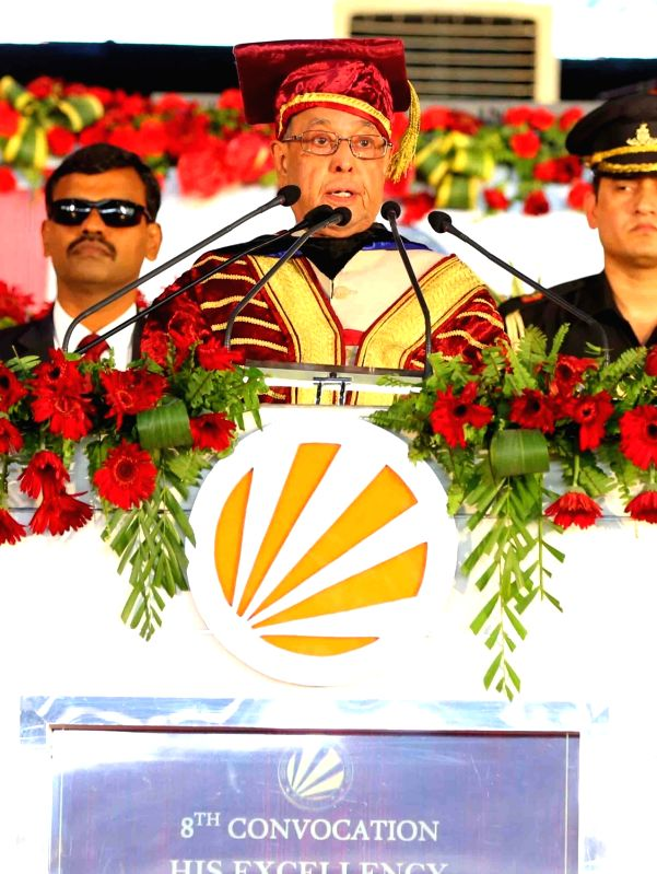 President Pranab Mukherjee addresses at the 8th Convocation of Lovely Professional University in Phagwara, Punjab on May 2, 2017. - Pranab Mukherjee