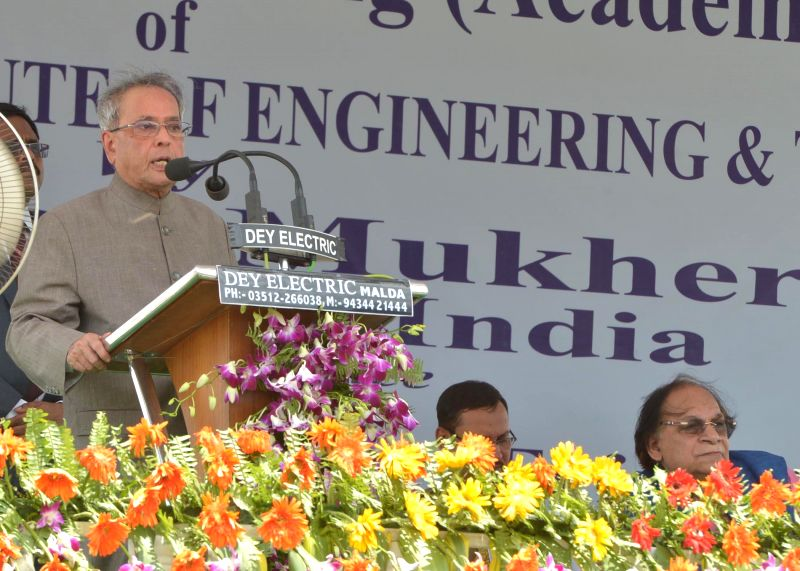 President Pranab Mukherjee addresses during inauguration of a new building of Ghani Khan Choudhury Institute of Engineering and Technology in Malda district of West Bengal on August 1, 2014. - Pranab Mukherjee
