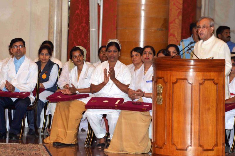 President Pranab Mukherjee addresses during National Florence Nightingale Awards ceremony at Rashtrapati Bhawan in New Delhi, on May 12, 2016. - Pranab Mukherjee
