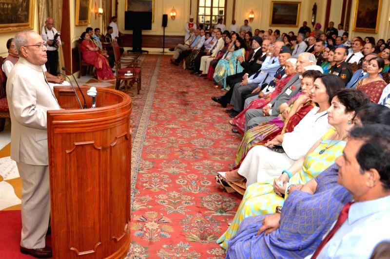 President Pranab Mukherjee addresses during Second Reunion of Former AsDC to the President at Rashtrapati Bhavan in New Delhi on April 29, 2017. - Pranab Mukherjee