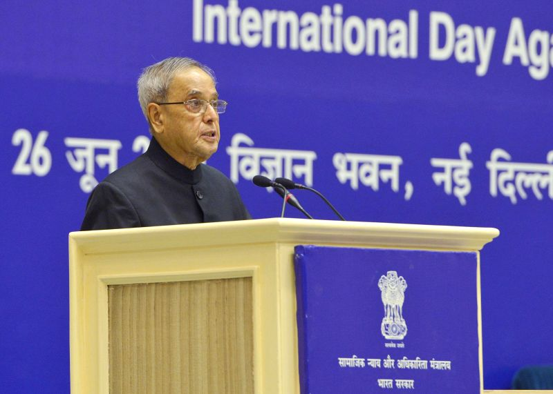 President Pranab Mukherjee addresses during a programme organised on on United Nations' International Day Against Drug Abuse and Illicit Trafficking in New Delhi on June 26, 2014.