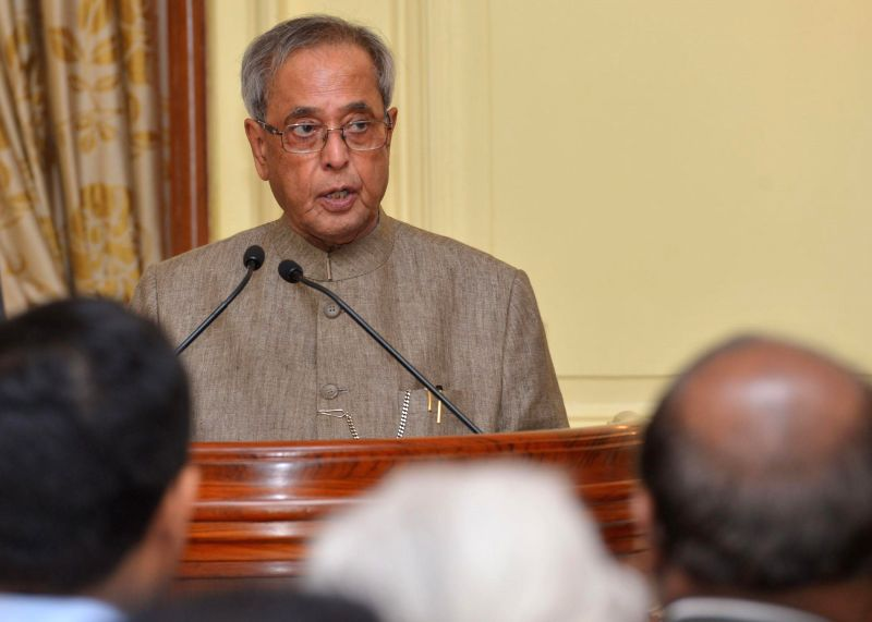 President Pranab Mukherjee addresses during a programme to release a set of eight commemorative postage stamps of Indian musicians at Rashtrapati Bhawan in New Delhi on Sept 3, 2014. - Pranab Mukherjee