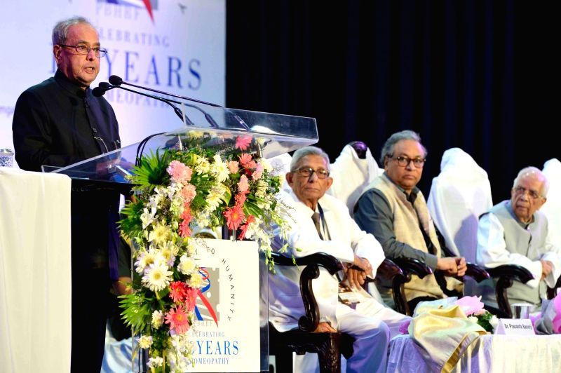 President Pranab Mukherjee addresses during a programme of the Legacy to Humanity: Celebrating 150 Years of Homeopathy' organised by the Dr. Prasanta Banerji Homeopathic Research Foundation ... - Pranab Mukherjee