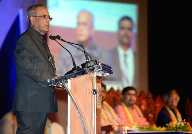 President Pranab Mukherjee addresses during a programme organized to present of Dr. Malati Allen Noble Award, Dr. Sarkar Allen Mahatma Mahnemann Award and Dr. Sarkar Allen Swamiji Award ... - Pranab Mukherjee