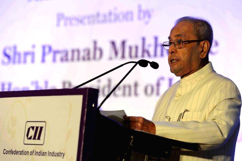 President Pranab Mukherjee addresses during a CII Award function in New Delhi, on April 27, 2017. - Pranab Mukherjee