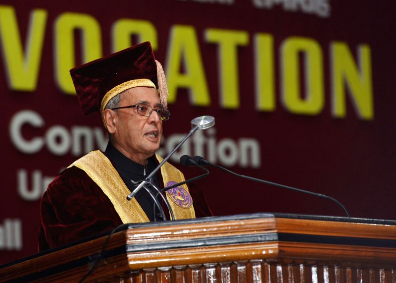 President Pranab Mukherjee addresses during the 14th Convocation of Manipur University in Imphal on April 29, 2014. - Pranab Mukherjee