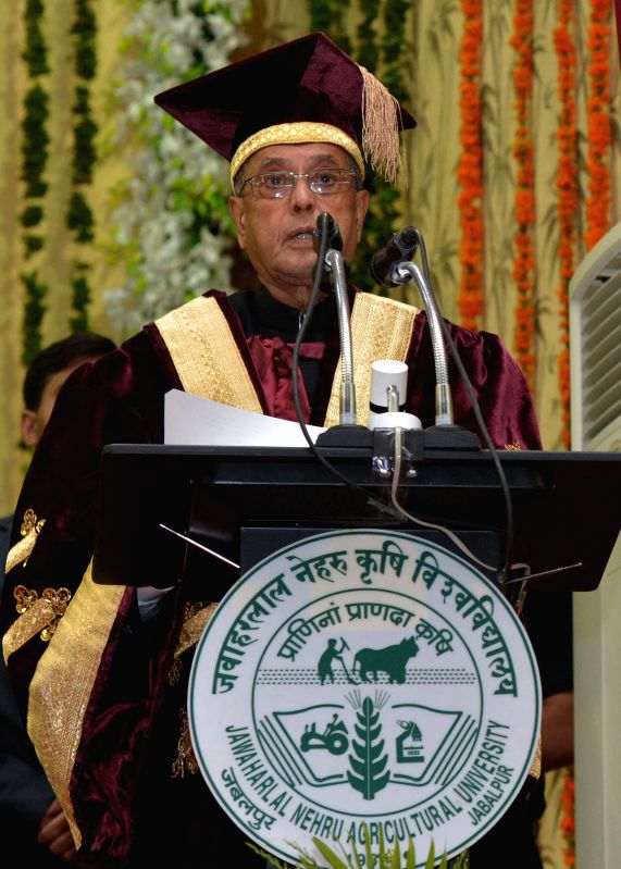 President Pranab Mukherjee addresses during the golden jubilee convocation of Jawaharlal Nehru Krishi Vishwa Vidyalaya at Jabalpur in Madhya Pradesh on June 27, 2014. - Pranab Mukherjee