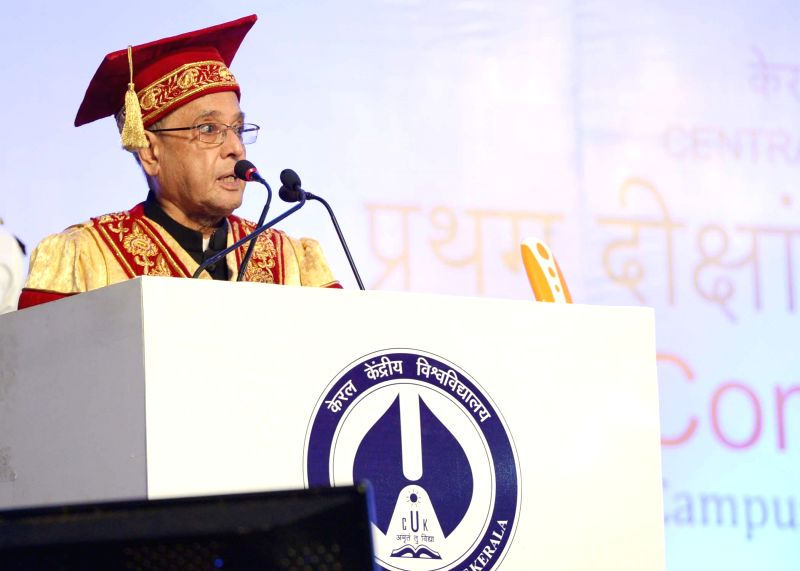 President Pranab Mukherjee addresses during the First Convocation of the Central University of Kerala at Periya in Kerala on July 18, 2014. - Pranab Mukherjee
