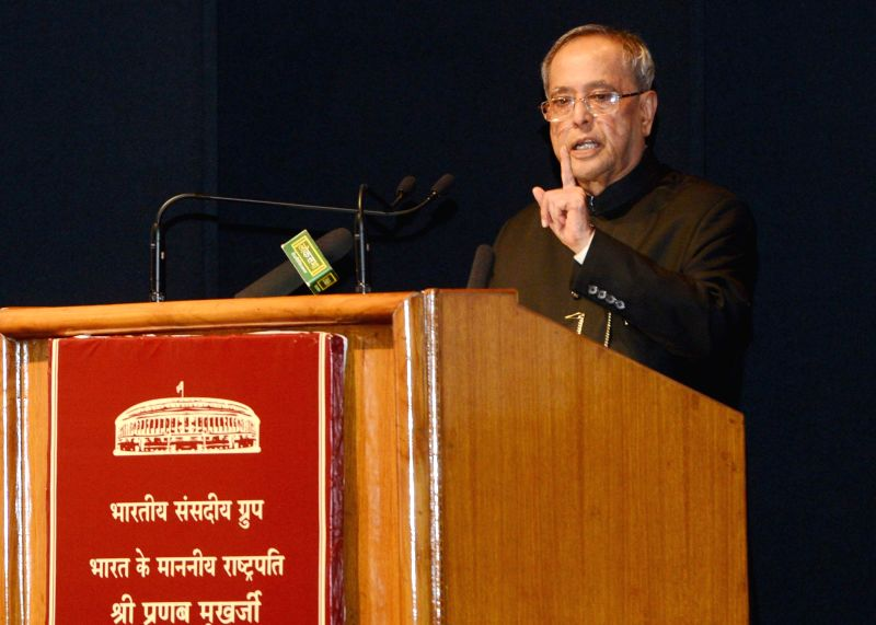 President Pranab Mukherjee addresses during the presentation ceremony of the Outstanding Parliamentarian Awards for the years 2010, 2011 and 2012, at Balayogi Auditorium, Parliament Library Building, - Pranab Mukherjee