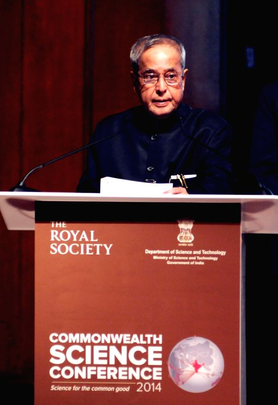 President Pranab Mukherjee addresses during the Commonwealth Science Conference in Bengaluru, on Nov 25, 2014. - Pranab Mukherjee