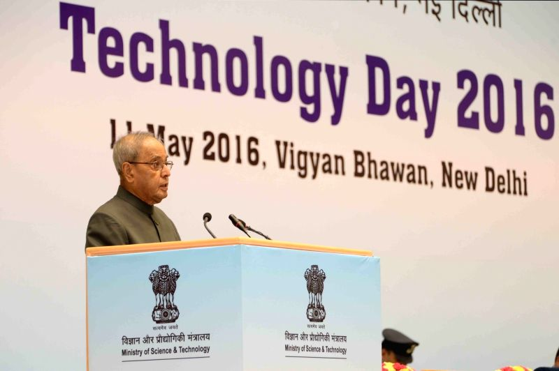 President Pranab Mukherjee addresses during the National Technology Day celebrations at Vigyan Bhavan in New Delhi, on May 11, 2016. - Pranab Mukherjee