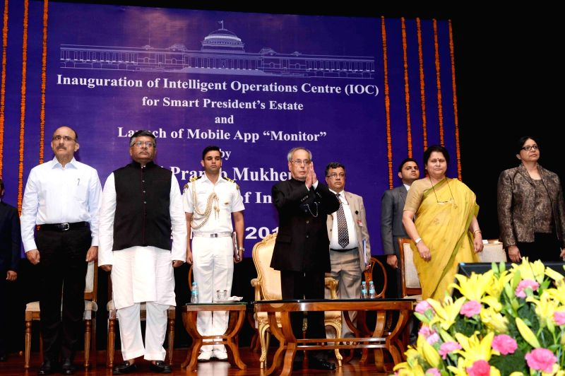 President Pranab Mukherjee addresses during the inauguration of the Intelligent Operations Centre (IOC) for Smart President's Estate and launch of the Mobile App 'Monitor', at Rashtrapati ... - Pranab Mukherjee