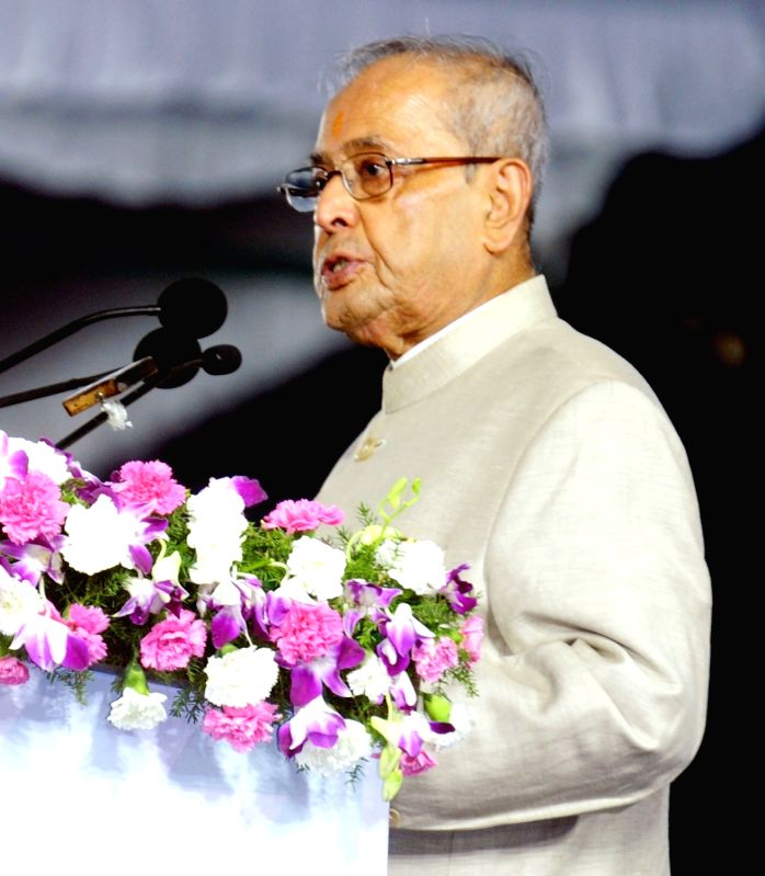 President Pranab Mukherjee addresses during the inauguration of Osmania University's centenary celebrations in Hyderabad on April 26, 2017. - Pranab Mukherjee