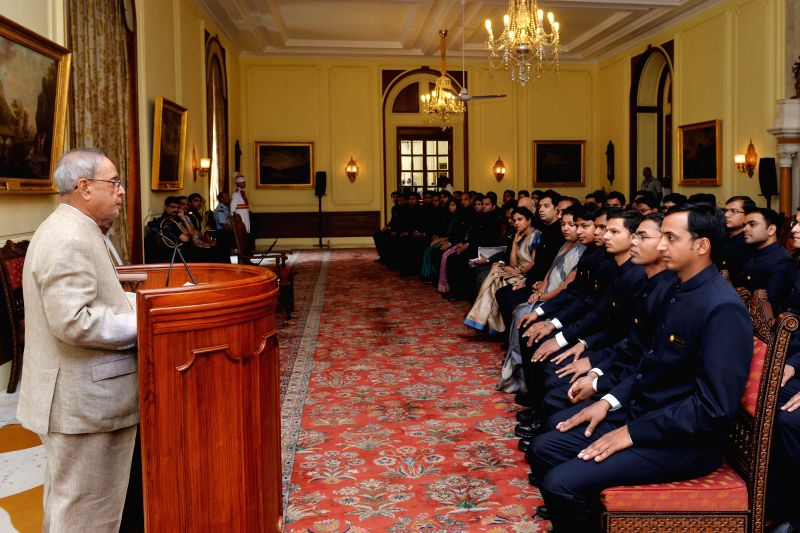 President Pranab Mukherjee addresses the Probationary Officers of Indian Ordnance Factories Service (IOFS) of 2014 (i) Batch from the National Academy of Defence Production (NADP), Nagpur, at ... - Pranab Mukherjee