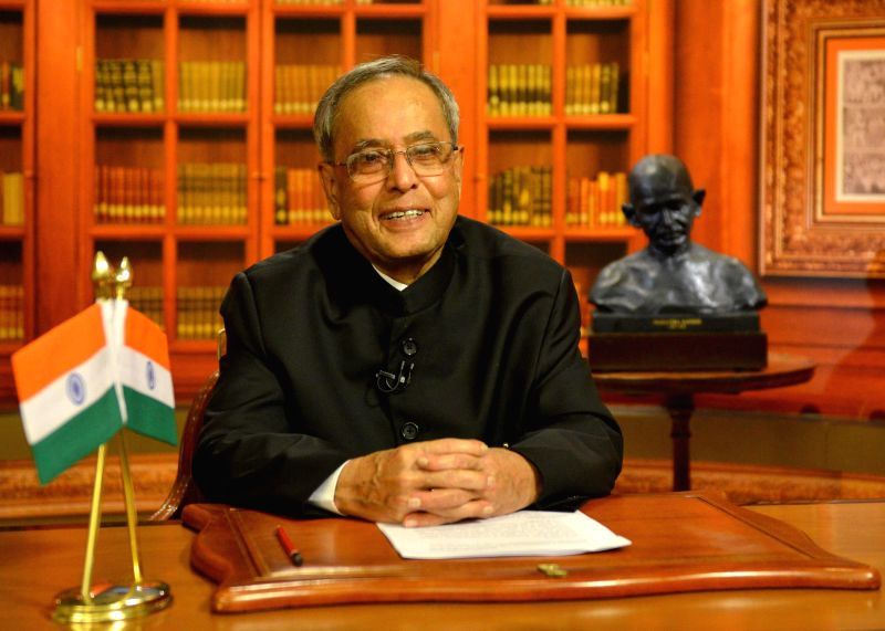 President Pranab Mukherjee addresses the nation on the eve of 68th Independence Day in New Delhi on Aug 14, 2014. - Pranab Mukherjee