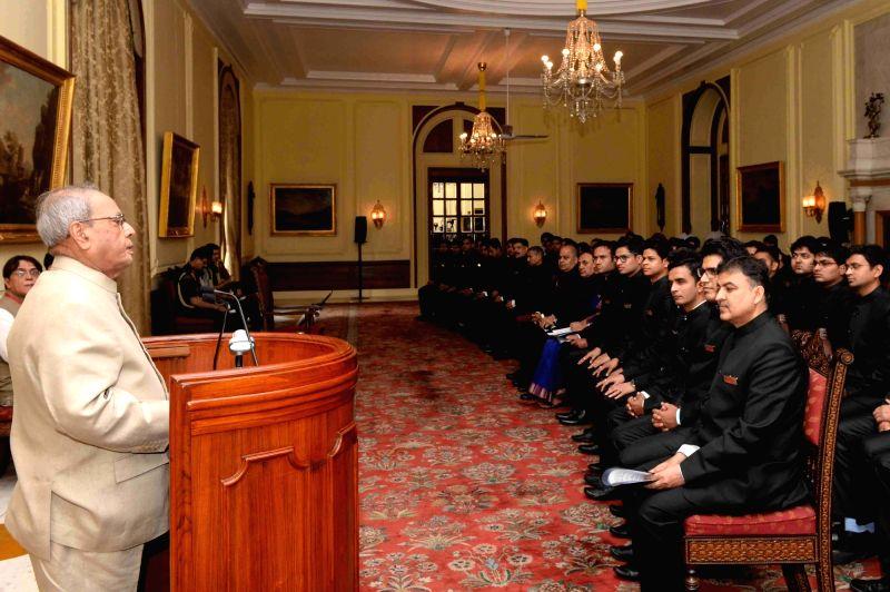 President Pranab Mukherjee addresses the Officer Trainees of the Indian Engineering Service of 2016 Batch at Rashtrapati Bhavan on May 31, 2017. - Pranab Mukherjee