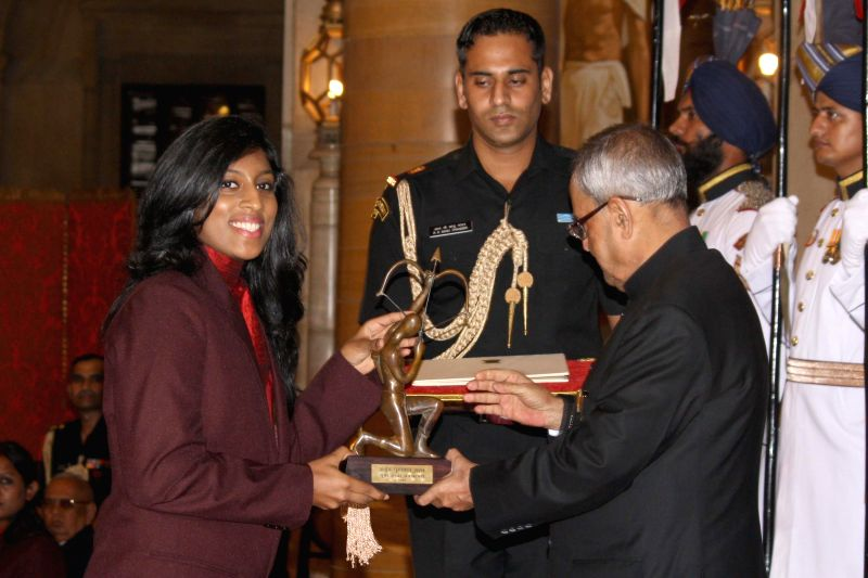 President Pranab Mukherjee confers Arjuna Award to Anaka Alankamony during a programme organised at Rashtrapati Bhavan, in New Delhi on August 29, 2014. - Pranab Mukherjee