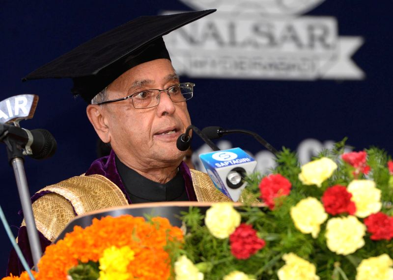 President Pranab Mukherjee during 12th Convocation of NALSAR University of Law at Shameerpet in Telangana on August 2, 2014. - Pranab Mukherjee