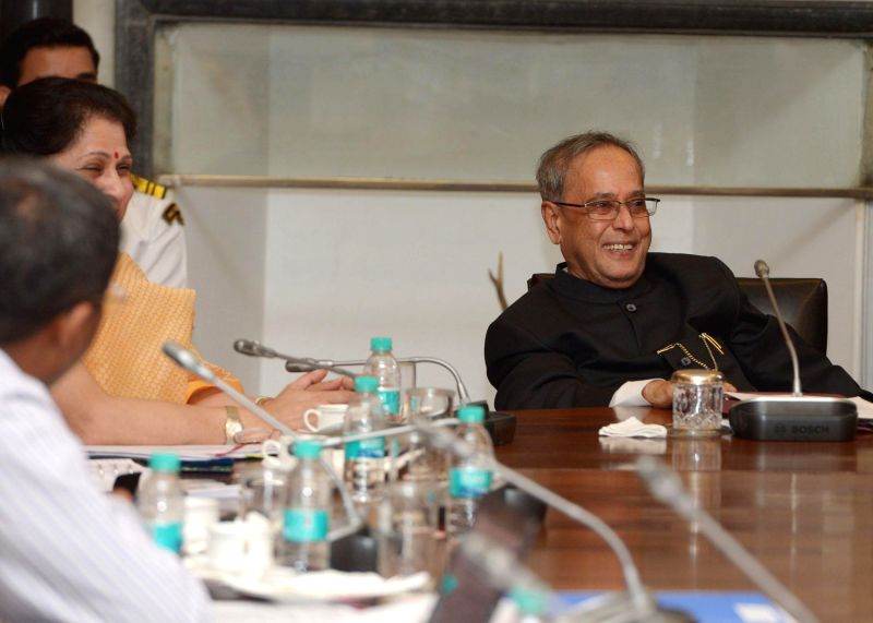 President Pranab Mukherjee during a meeting with the scholars attending 'In-Residence' programme at Rashtrapati Bhavan in New Delhi on July 17, 2014. - Pranab Mukherjee