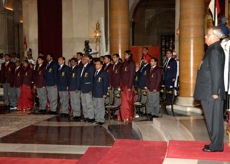 President Pranab Mukherjee during a programme organised to present Dronacharya Award, Arjuna Award, Dhyan Chand Award, National Tenzing Norgay Adventure Award, Maulana Abul Kalam Azad Trophy and ... - Pranab Mukherjee