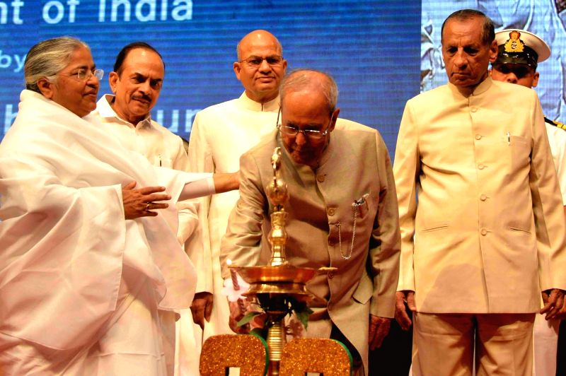 President Pranab Mukherjee during a programme organised to felicitate Brahma Kumaris in Hyderabad on April 26, 2017. - Pranab Mukherjee