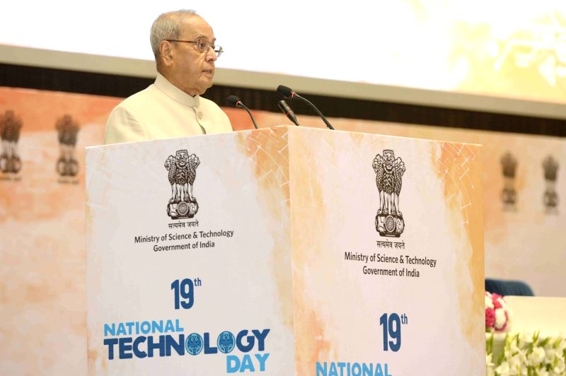 President Pranab Mukherjee during a programme organised to celebrate National Technology Day at Vigyan Bhavan in New Delhi on May 11, 2017. - Pranab Mukherjee