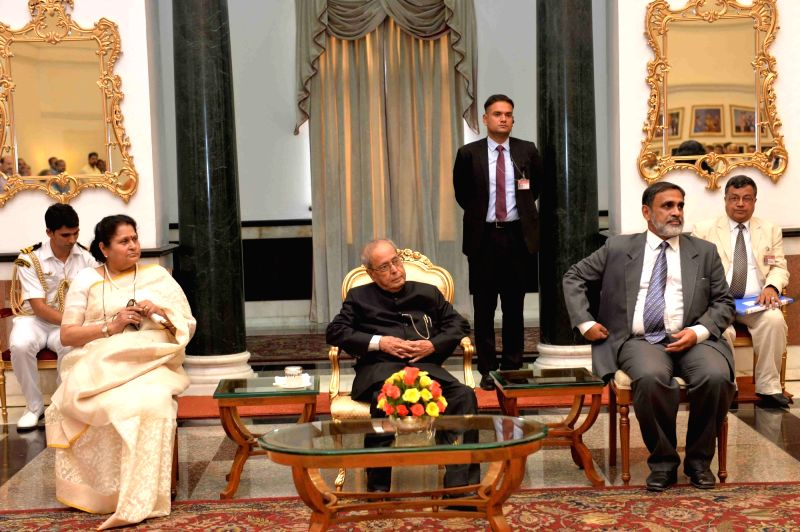 President Pranab Mukherjee during a programme organised to bid farewell to Press Secretary, Venu Rajamony at Rashtrapati Bhavan on May 25, 2017. - Pranab Mukherjee