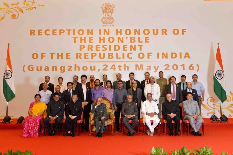 President Pranab Mukherjee during an Indian Community Reception hosted for him at Guangzhou in China on May 24, 2016. - Pranab Mukherjee