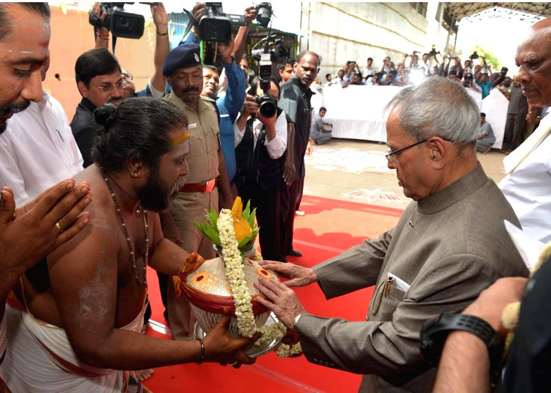 President Pranab Mukherjee during his visit to Punnainallur Mariamman temple in Thanjavur of Tamil Nadu on July 19, 2014.
