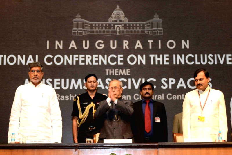 President Pranab Mukherjee during inauguration of conference on `Museums as Civic Spaces` organised by the National Council of Science Museums in Kolkata, on Aug 6, 2015. Also seen Indian ... - Kailash Satyarthi and Pranab Mukherjee