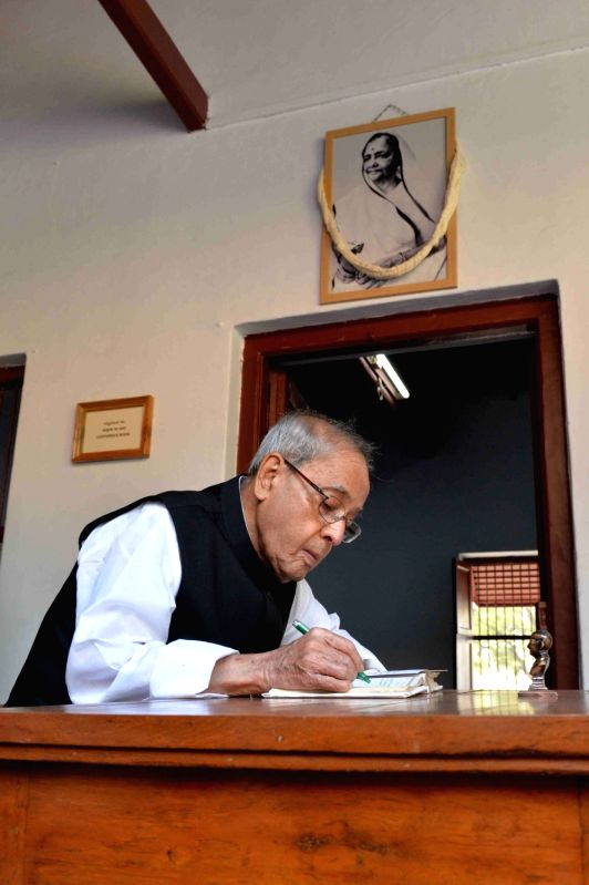 President Pranab Mukherjee during inauguration of Archives and Research Centre at Sabarmati Ashram in Ahmedabad, on Dec 1, 2015. - Pranab Mukherjee