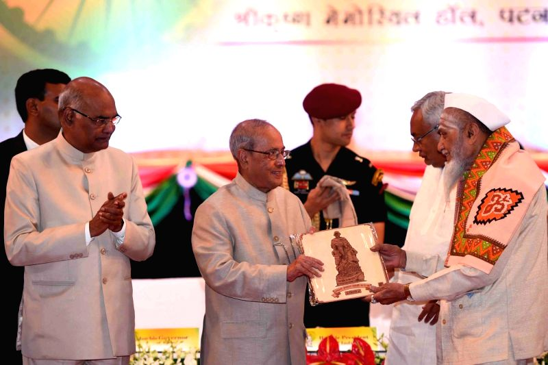 President Pranab Mukherjee during inauguration of a programme organised to felicitate freedom fighters on Centenary of Mahatma Gandhi's Champaran Satyagraha in Patna on April 17, 2017. - Pranab Mukherjee