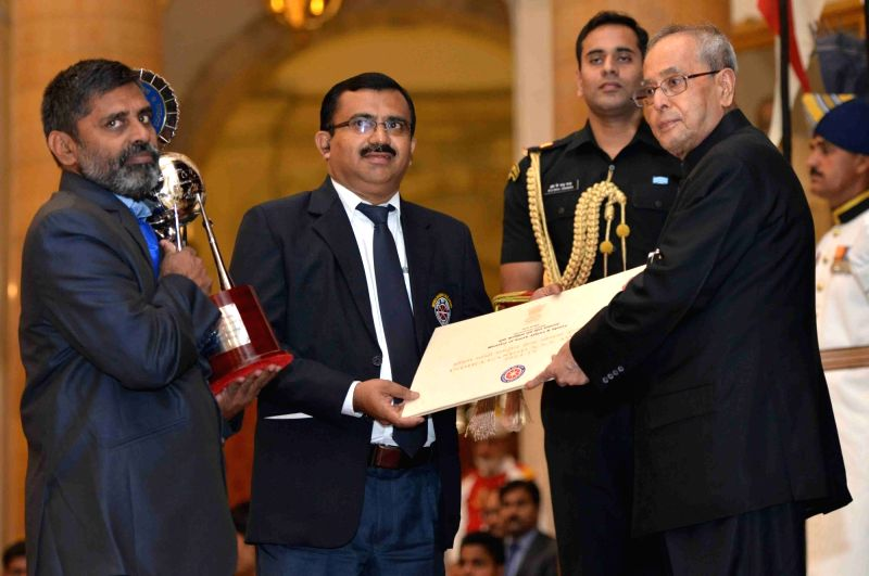 President Pranab Mukherjee during Indira Gandhi National Service Scheme Awards ceremony for the year 2014-2015 at Rashtrapati Bhawan in New Delhi, on Nov 19, 2015. - Pranab Mukherjee