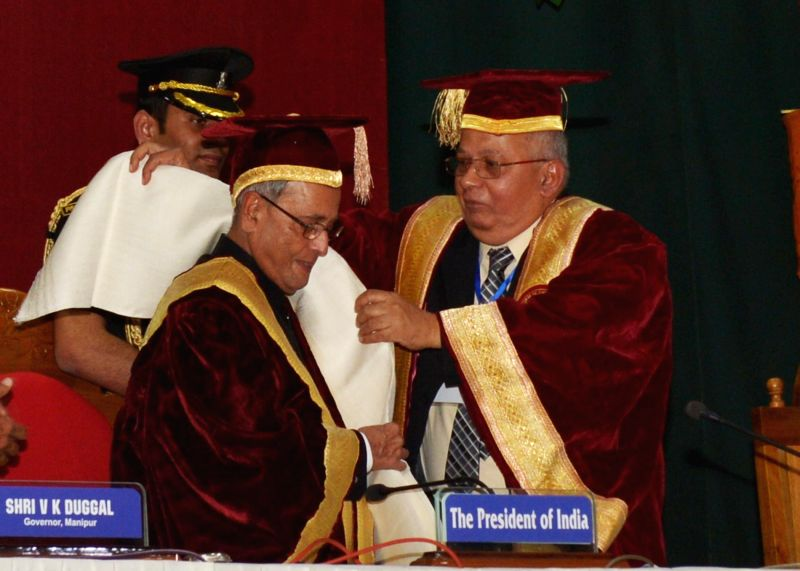 President Pranab Mukherjee during the 14th Convocation of Manipur University in Imphal on April 29, 2014. - Pranab Mukherjee
