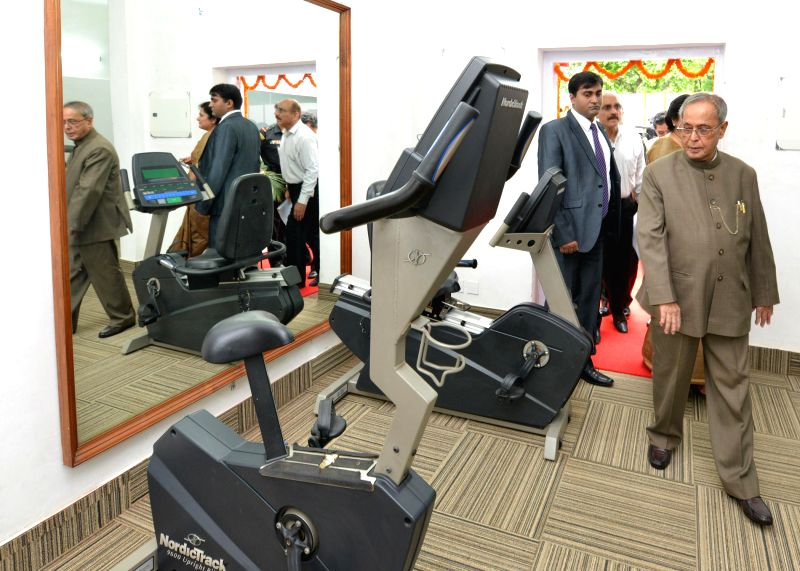President Pranab Mukherjee, during the inauguration of recreation club fitness centre at Schedule – B, President`s Estate in New Delhi on July 24, 2014.