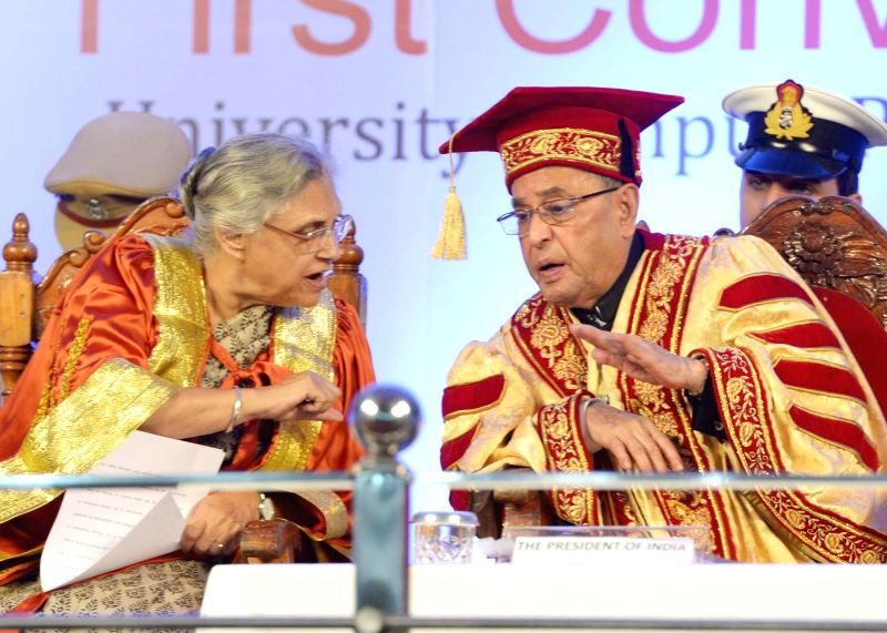 President Pranab Mukherjee during the First Convocation of the Central University of Kerala at Periya in Kerala on July 18, 2014. - Pranab Mukherjee