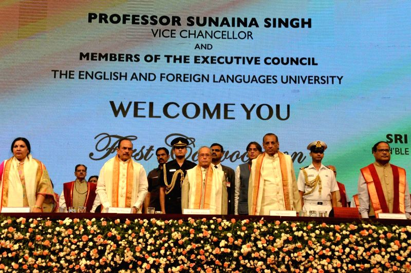President Pranab Mukherjee during the first convocation of The English & Foreign Languages University in Hyderabad on April 26, 2017. - Pranab Mukherjee