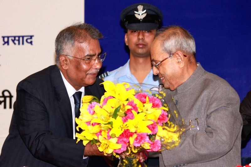 President Pranab Mukherjee during the National Press Day celebrations at Vigyan Bhavan in New Delhi, on Nov 16, 2015. - Pranab Mukherjee