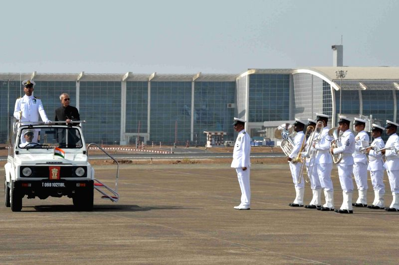 President Pranab Mukherjee inspects guard of honour on his arrival at Dabolim Airport (Naval Enclave) in Goa on April 25, 2017. - Pranab Mukherjee
