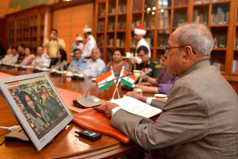 "President Pranab Mukherjee launches the Mobile App to ""Selfie with Daughters"" at Rashtrapati Bhavan on June 9, 2017. - Pranab Mukherjee"
