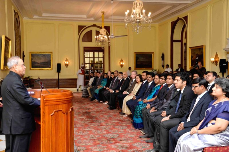 "President Pranab Mukherjee meets addresses the winners of ""Innovate for Digital India Challenge"" at Rashtrapati Bhavan in New Delhi, on Nov 19, 2015."